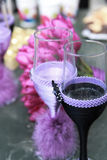 Two purple wedding glasses with champagne Royalty Free Stock Images