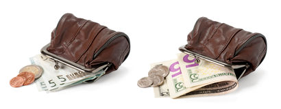 Two purses with dollars and euros Stock Images