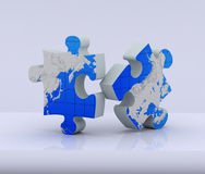 Two puzzle of global map Stock Photos