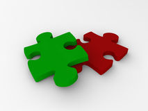 Two puzzle pieces Stock Images