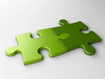 Two puzzle pieces with clipping path Stock Photography