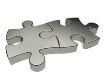 Two puzzle pieces isolated Royalty Free Stock Photos