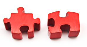 Two puzzle pieces red Royalty Free Stock Image