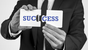 Two puzzle pieces with the word success Stock Images