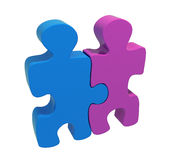 Two puzzles man and woman Stock Image