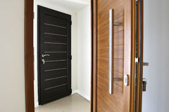 Two pvc wood color doors Royalty Free Stock Photo