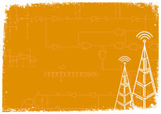 Two pylons. Over electronic circuit scheme - orange background (vector, illustration Stock Images