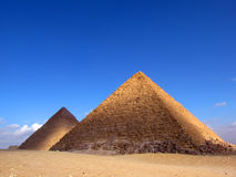 Two pyramid in Giza. Pyramid of Khafre (or Chephren) and Pyramid of Menkaure Royalty Free Stock Photography