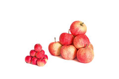 Two pyramids of apples  on white background. Two pyramids of pink and vinous apples  on white background Stock Images