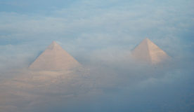Two pyramids in Caïro Egypt, taken form airplane. royalty free stock images