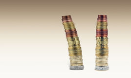 Two pyramids of euro coins Royalty Free Stock Images