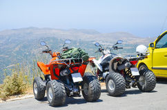Two quad bikes in the parking Stock Image