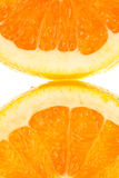 Two quarter orangefruits Royalty Free Stock Images