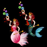 Two Queen mermaid with seashell and gold arrows Stock Image