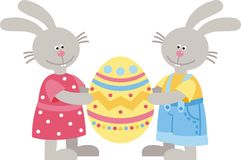 Two rabbit. And easter egg Stock Images