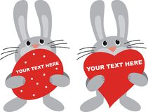 Two rabbit. With a heart and egg Royalty Free Stock Image