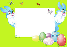 Two rabbit with eggs Royalty Free Stock Photo
