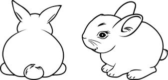 Two rabbits. Contour drawing Stock Photo