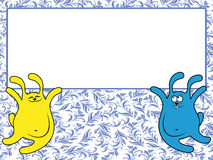 Two rabbits holding a big banner Royalty Free Stock Photos