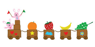 Two rabbits holding flags with train of fruits vector for educat. Ion  teaching children Royalty Free Stock Photos