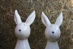 Two Rabbits out of Porcelain Stock Photo