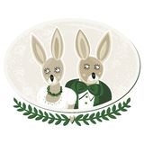 Two rabbits portrait on white Stock Images