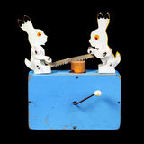 Two rabbits sawing a log Royalty Free Stock Images