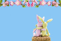 Two rabbits on a straw bale with flowers. In front of a blue background Royalty Free Stock Images