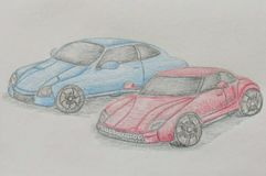 Two Race cars royalty free illustration