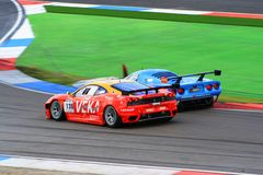 Two racecars at the TT Circuit Assen, Drenthe, Holland, the Netherlands Stock Photo