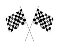 Two racing flags crossed realistic. Pair of standards for marking start and finish. Vector illustration Stock Illustration