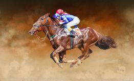 Two racing horses neck to neck in fierce competition for the finish line royalty free stock image
