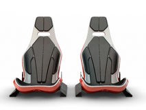 Two Racing leather carbon fiber seats. Isolated on white background Royalty Free Stock Images