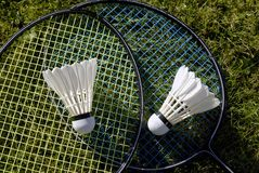 Two rackets on grass Royalty Free Stock Images