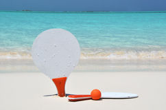 Two rackets on the sandy beach Stock Photo