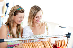 Two radiant women doing shopping Stock Photo
