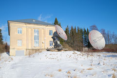 Two radio telescope at the building of the astrophysical Observatory of the Russian Academy of Sciences. Sain Stock Images