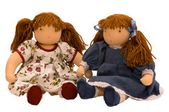 Two rag dolls sitting Royalty Free Stock Photo