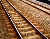 Two Railroad Tracks. Railroad tracks venture off into the distance Stock Image