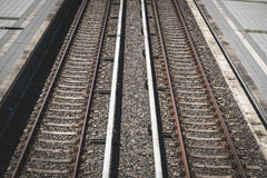 Two railroad tracks from above , railway, rails Royalty Free Stock Photo