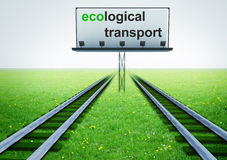 Two railroads of ecological transport with advertisement Royalty Free Stock Photos