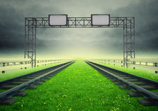 Two railroads of ecological transport with construction Royalty Free Stock Image