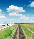 Two railway to horizon in green landscape under blue sky Stock Images