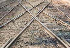 Two railway tracks merge for train transportation.  Royalty Free Stock Photography