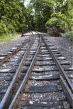 Two railway tracks into one Stock Photos