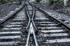 Two railway tracks into one Royalty Free Stock Photography