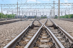 Two railways with switch track Royalty Free Stock Photos