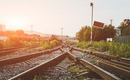 Two railways tracks merge close up.Vintage tone stock photography