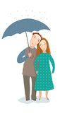 Two in the rain. Boy and girl in the rain Royalty Free Stock Photo