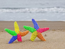 Two Rainbow Starfish on the Shoreline. With Waves in the Background Royalty Free Stock Photo
